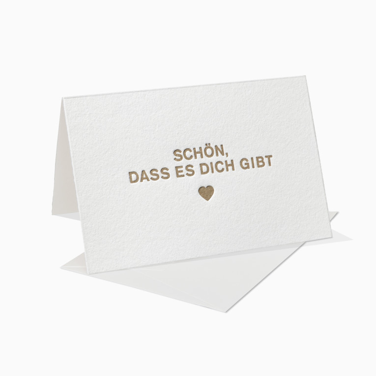 Letterpress Grußkarten / Klappkarte / Schön, dass es Dich gibt / Herz / Gold / Liebe / Mann / Frau / Geburtstag / Muttertag