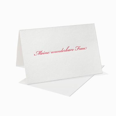 Letterpress Klappkarte / Grußkarte / Karte - Meine wunderbare Frau - Schreibschrift