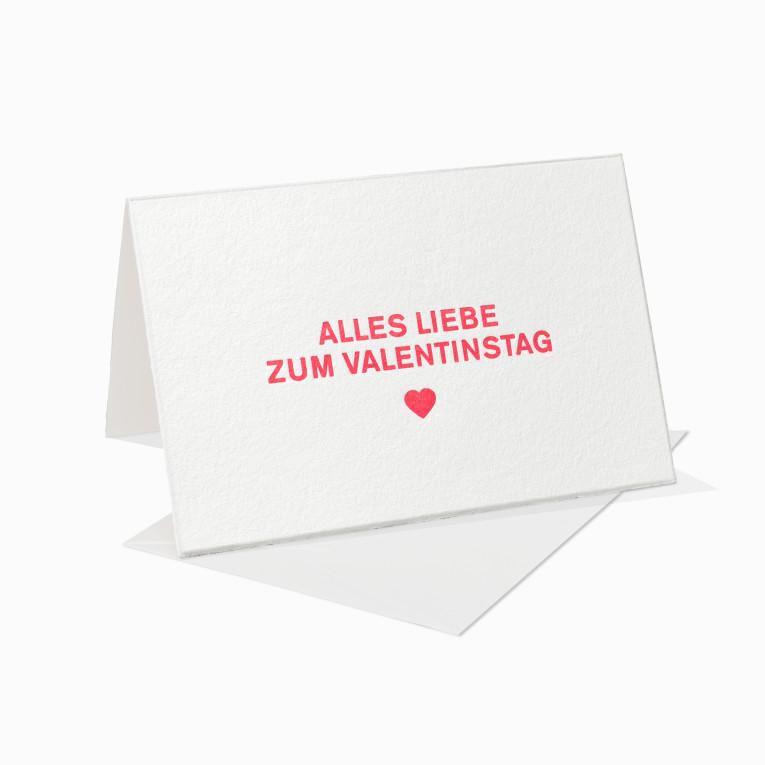 Letterpress Grußkarte / Klappkarte / Alles Liebe zum Valentinstag