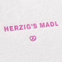 Letterpress Klappkarte / Grußkarte / Karte - Herzig's Madl