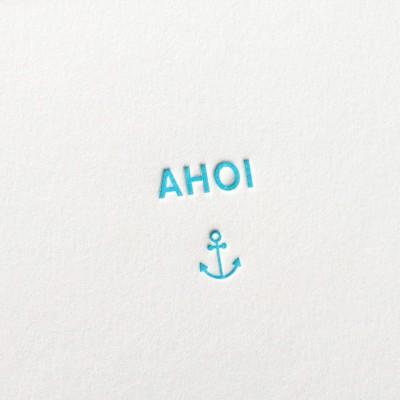 Letterpress Klappkarte / Grußkarte / Karte - Ahoi - Anker - Liebe - Treue - Hoffnung