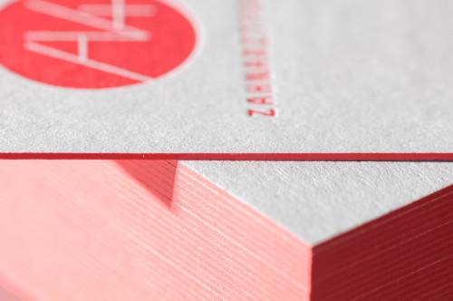 Paul Dieter Letterpress - Visitenkarten - Farbschnitt - Rot / Grau