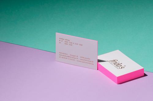 Paul Dieter Letterpress - Visitenkarten - Farbschnitt - Neon Pink